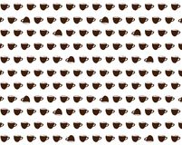 Vector patter with funny brown cups. On white background vector illustration