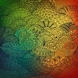 Vector pattern abstract background with colorful ornament. Hand draw illustration, coloring book zentangle. Algae sea Royalty Free Stock Images