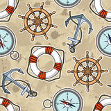 Vector pattern with anchors, lifebuoies, ships wheels, compasses Stock Images
