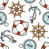 Vector pattern with anchors, lifebuoies, ships wheels, compasses Royalty Free Stock Images