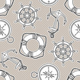 Vector pattern with anchors, lifebuoies, ships wheels, compasses Stock Photos
