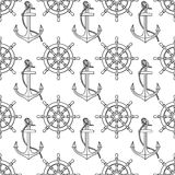 Vector pattern with anchors, lifebuoies, ships wheels, compasses Royalty Free Stock Photos