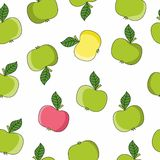Vector pattern of apples in a flat style. Seamless illustration on the theme of healthy eating. Green apple wallpapers for your Projects summary stock illustration