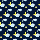 Vector pattern background with bright colored cartoon moon, clou Royalty Free Stock Photos