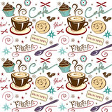 Vector Pattern Background Cafe Coffee Shop Stock Images