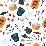 Vector pattern or background illustration with cartoon fishing equipment. Fishing equipment background, outdoor sport and hobby vector illustration