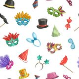 Vector pattern or background illustration with masks and party accessories. Vector pattern or background illustration with colored masks and cartoon party Stock Photography