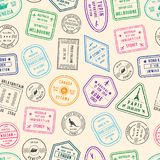 Vector pattern or background illustration with post and immigration stamps from different countries stock illustration