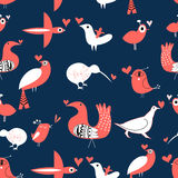 Vector pattern with birds in love Royalty Free Stock Images