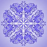 Vector pattern of blue ornament for design. Vector pattern of blue ornament with lace filigree elements for design Royalty Free Stock Photo