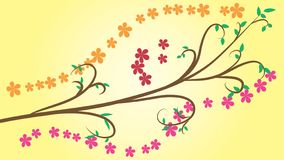 Vector pattern from a branch with flowers on a colored background. EPS 10. Vector pattern from a branch with flowers on a colored background vector illustration