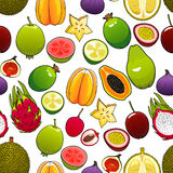 Vector pattern of bright exotic and tropical fruits. Exotic and tropical fruits. Vector seamless pattern of bright, fresh, juicy, whole and cut papaya, mango Royalty Free Stock Photography