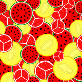 Vector pattern of bright fruits. Stock Images