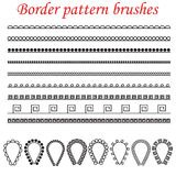 Vector pattern brushes for borders, dividers and frames. Stock Images