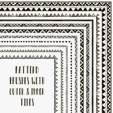 Vector pattern brushes with outer and inner tiles Stock Photos