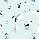 Vector pattern with bunnies and stars. Illustration isolated . stock illustration