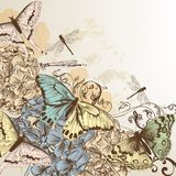 Vector pattern with butterflies in vintage style Stock Image