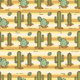 Vector pattern of cacti. Linear illustration. Mexican vector background Royalty Free Stock Image