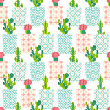 Vector pattern with cactus Royalty Free Stock Images