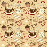 Vector Pattern Cafe Fresh Hot Coffee Stock Photo