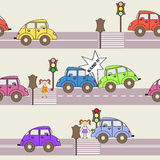 Vector pattern with cars and traffic Royalty Free Stock Photography