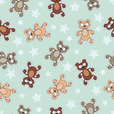 Vector pattern with cartoon bears and stars Royalty Free Stock Photo