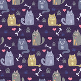 Vector pattern with cartoon cats and dogs Royalty Free Stock Image