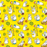 Vector pattern with cartoon sheep. On yellow background Stock Image