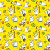 Vector pattern with cartoon sheep vector illustration