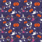 Vector pattern with cartoon symbols of Halloween Royalty Free Stock Photo