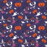Vector pattern with cartoon symbols of Halloween Royalty Free Stock Photo