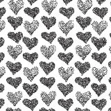 Vector pattern. Casual stipple polka dot texture. Stylish print with hand drawn hearts. vector illustration