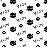 Vector pattern with cat, paw prints and meow word. Printable, monochrome background Stock Photography