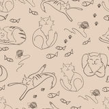 Vector pattern with cats Royalty Free Stock Image