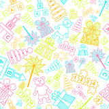 Vector pattern with children toys Stock Images