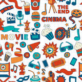Vector pattern with cinema hand drawn icons Doodle style. Pictures Stock Image