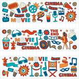 Vector pattern with cinema hand drawn icons Doodle style. Pictures Stock Photography
