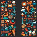 Vector pattern with cinema hand drawn icons Doodle style. Pictures Royalty Free Stock Images