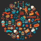 Vector pattern with cinema hand drawn icons Doodle style. Pictures Royalty Free Stock Photos