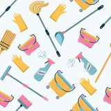Vector pattern of cleaning tools. Cleaning service. Vector cartoon funny pattern of cleaning tools. Cleaning service color illustrations Royalty Free Stock Photos