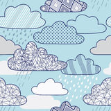Vector pattern with clouds and rain Stock Image