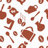 Vector pattern coffee. Pattern with coffee and items for consumption Royalty Free Stock Image