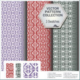 Vector pattern collection that includes 3 brushes Royalty Free Stock Photography