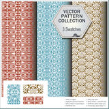 Vector pattern collection that includes 3 brushes Royalty Free Stock Photos