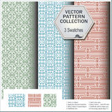 Vector pattern collection that includes 3 brushes Stock Photo