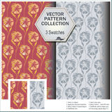Vector pattern collection that includes 3 flowers swatches Stock Images