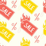 Vector pattern of color sale tags and percentage. Royalty Free Stock Photo