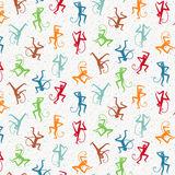 Vector pattern with colored dancing monkeys Royalty Free Stock Photography