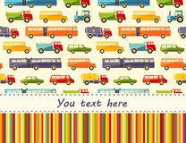 Vector pattern with colorful flat car icons and place for text. Royalty Free Stock Images