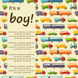 Vector pattern with colorful flat car icons and place for text. Royalty Free Stock Image
